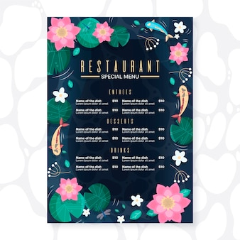 Hand drawn restaurant menu template