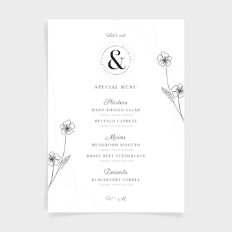 Hand drawn restaurant menu template
