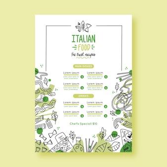 Modello di menu del ristorante disegnato a mano