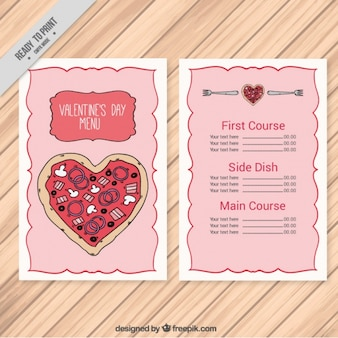 Hand-drawn restaurant menu with pizza heart-shaped