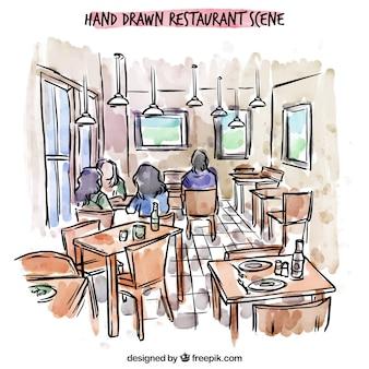 手描きのレストランのシーン、内部の人