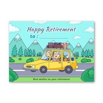 図解手描き退職グリーティングカードテンプレート