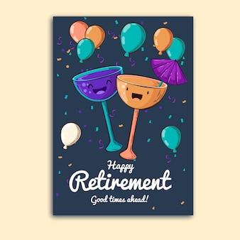 手描きの退職グリーティングカード