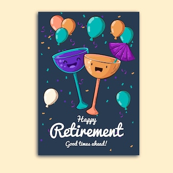 Hand drawn retirement greeting card