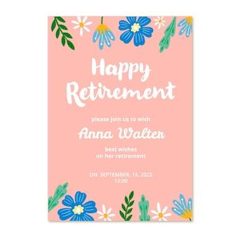 손으로 그린 은퇴 인사말 카드