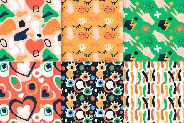 Hand drawn retro abstract pattern collection
