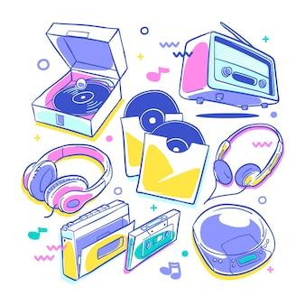 생생한 색상으로 손으로 그린 복고풍 및 빈티지 음악 플레이어 컬렉션