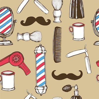 Hand drawn retro barbershop seamless pattern. scissors, razor, shaving brush, barber pole, shaving mirror