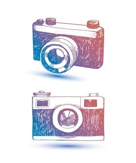 Hand drawn retro camera. hipster illustration. use as card, t-shirt print