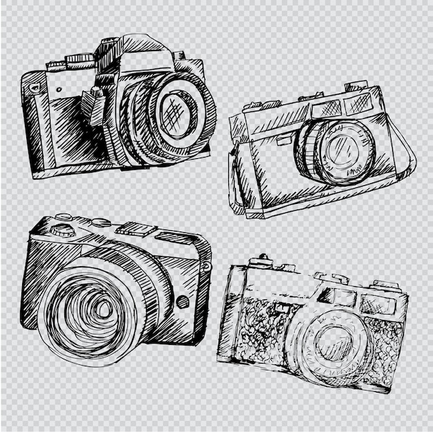 Hand drawn retro camera set