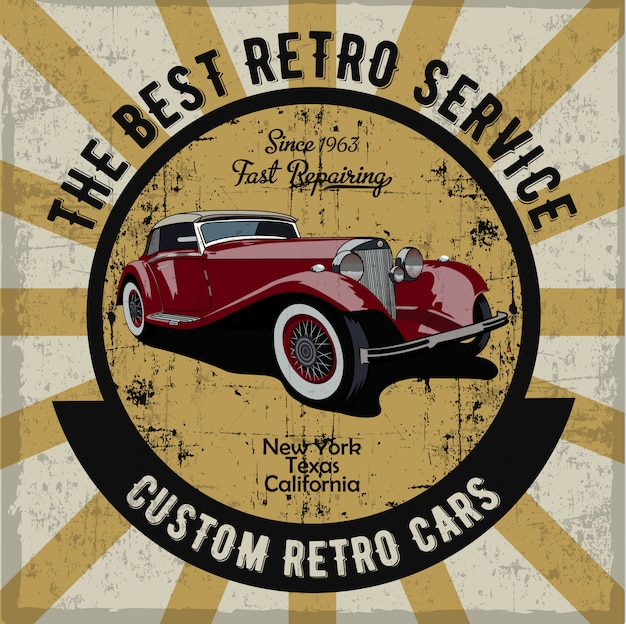 Hand drawn retro car label