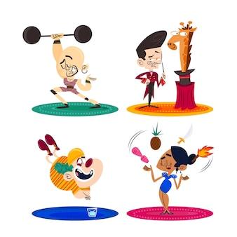 サーカスのパフォーマーと手描きのレトロな漫画のキャラクター