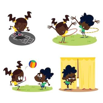 外で遊ぶ子供たちと手描きのレトロな漫画のキャラクター