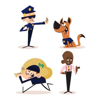 Personaggi dei cartoni animati retrò disegnati a mano