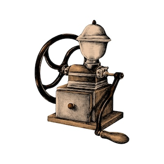Hand drawn retro coffee grinder
