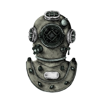 Hand drawn retro diving helmet