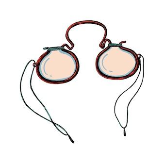 Hand drawn retro eyeglasses