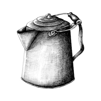 Hand drawn retro kettle