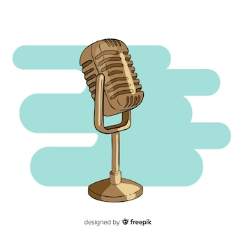 Hand drawn retro microphone