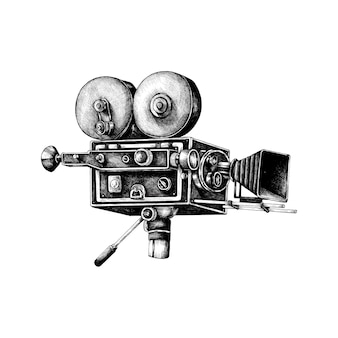 Hand drawn retro movie camera