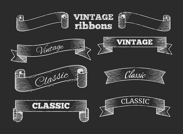 Hand drawn retro ribbon banners on blackboard