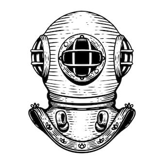 손으로 그린 레트로 스타일 다이 버 헬멧 그림 흰색 배경. 로고, 라벨, 엠 블 럼, 사인, 배지 요소. 영상