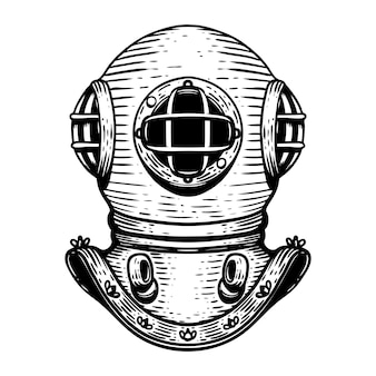 Hand drawn retro style diver helmet illustration on white background.  elements for logo, label, emblem, sign, badge.  image
