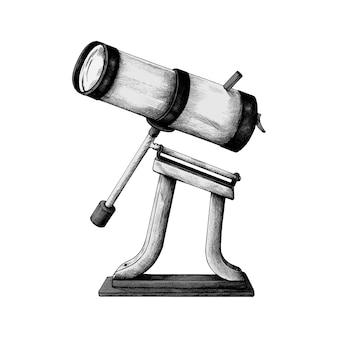 Hand drawn retro telescope