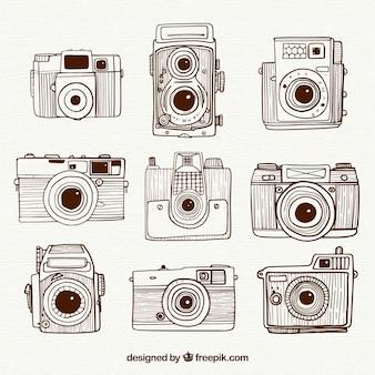 Hand drawn retro vintage cameras collection