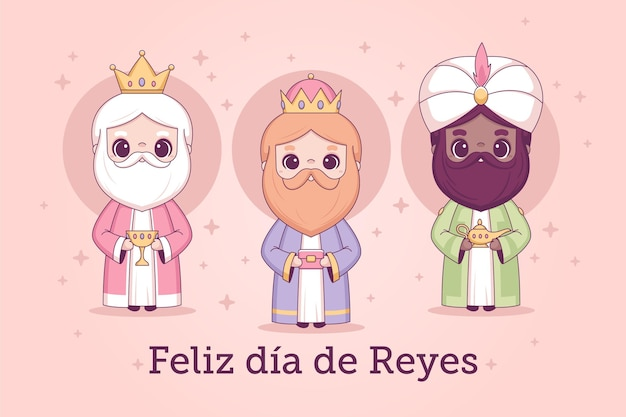 Hand drawn reyes magos day
