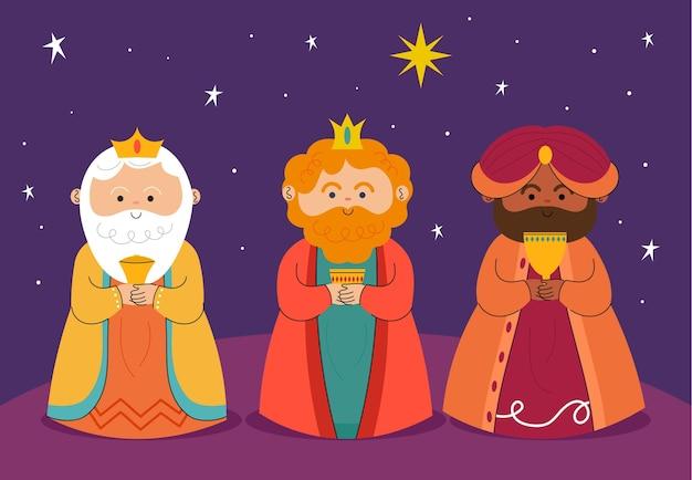 Reyes magos disegnati a mano Vettore gratuito