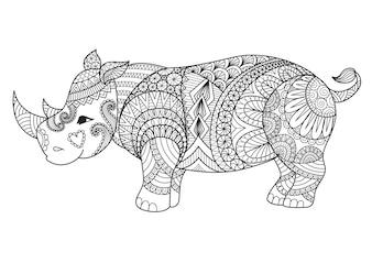 Hand drawn rhinoceros