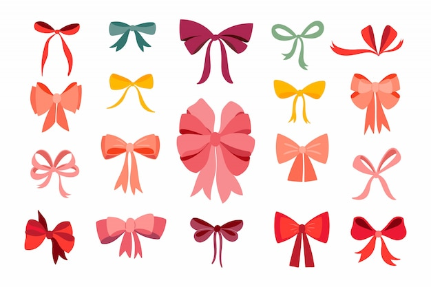 Hand drawn ribbons collection isolated on white