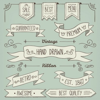 Hand drawn ribbons collection