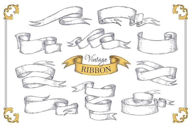 Ленты нарисованные рукой. элементы прокрутки в стиле гравюры