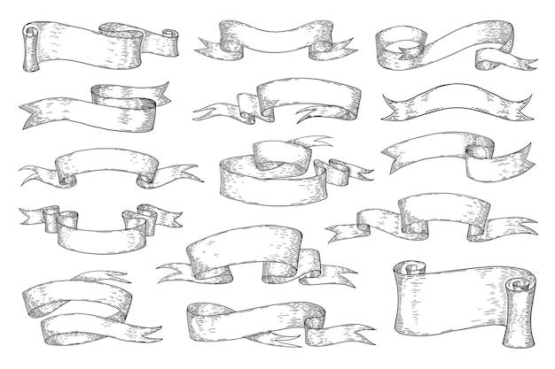 Ленты нарисованные рукой. винтажные элементы эскиза, ретро геральдические ленты. каракули набор свитков вихревой