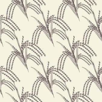 손으로 그린된 쌀 곡물 완벽 한 패턴입니다. 쌀 귀 벽지. 빈티지 스타일의 배경을 조각합니다. 포장지, 섬유 인쇄용 디자인. 벡터 일러스트 레이 션