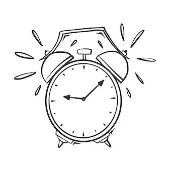Hand drawn  of ringing alarm clock, isolated on white background.