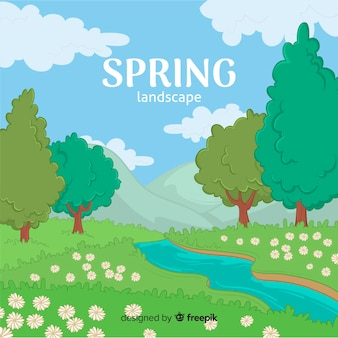 Hand drawn river spring background