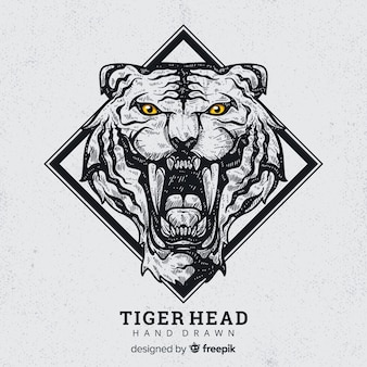 Hand drawn roaring tiger background