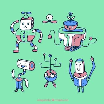 손으로 그린 로봇 캐릭터 컬렉션