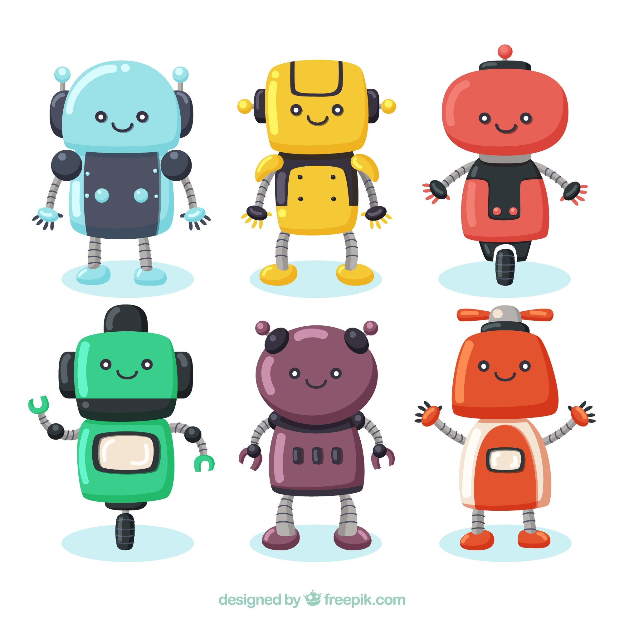 Hand drawn robot character collection