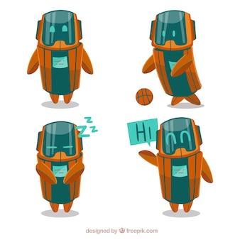 異なるポーズコレクションを持つ手描きのロボットキャラクター