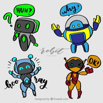 Hand drawn robot character with different poses collection