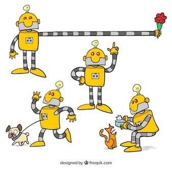 Hand drawn robot collection with different poses