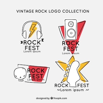 Hand drawn rock logo collection with vintage style