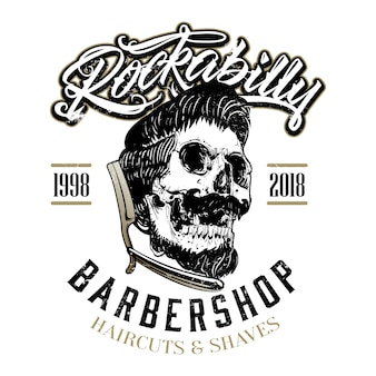 Hand drawn rockabilly barber shop logo Premium Vector