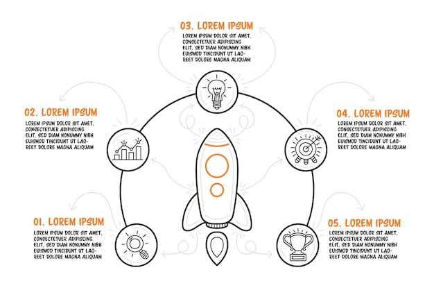Рисованной ракеты в центре и бизнес-иконки вокруг. пять инфографических шагов с описанием. векторная иллюстрация.