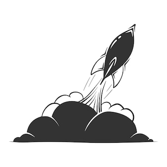 Hand drawn  of rocket with smoke clouds, isolated on white background.
