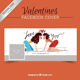 Hand drawn romantic couple facebook cover